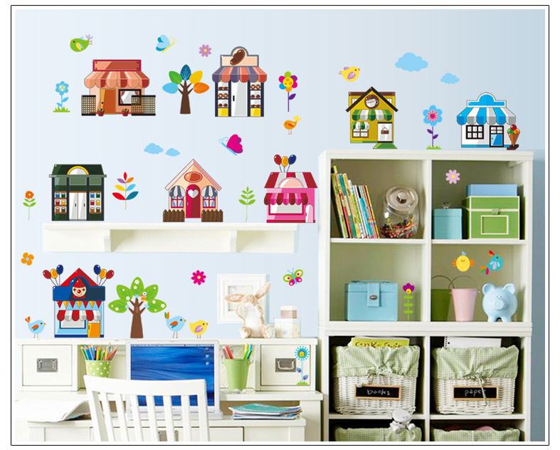 Home Decoration Wholesale Manufacturers Mj9004 Cartoon Store Children's Room Decoration Fifth Generation Can Remove Pvc Stickers(China (Mainland))