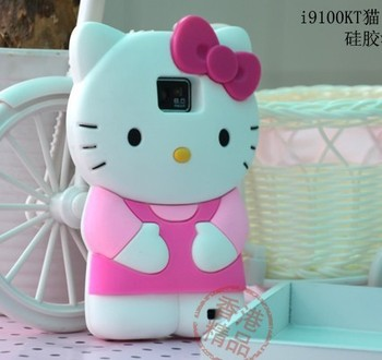 3D Hello Kitty Silicone Soft Back Cover Case For Samsung Galaxy SII S2 i9100 Free Shipping