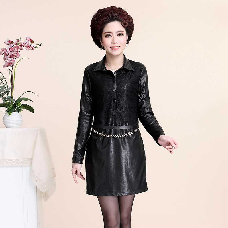 Free Shipping spring 2015 middle and old aged womens clothing fashion mosaic skin slim lace dress 1435227457(China (Mainland))