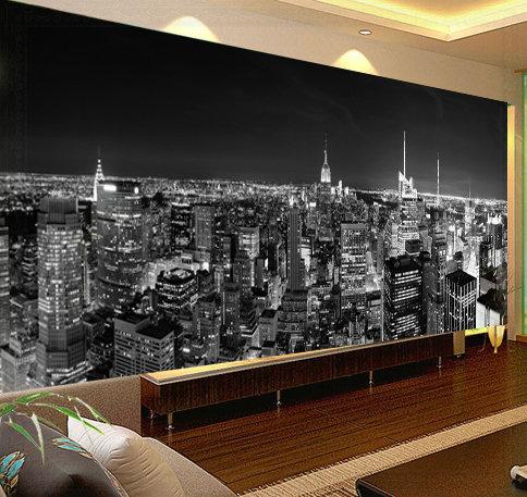 Custom photo mural wallpaper bedroom living room painting for Black and white living room wallpaper