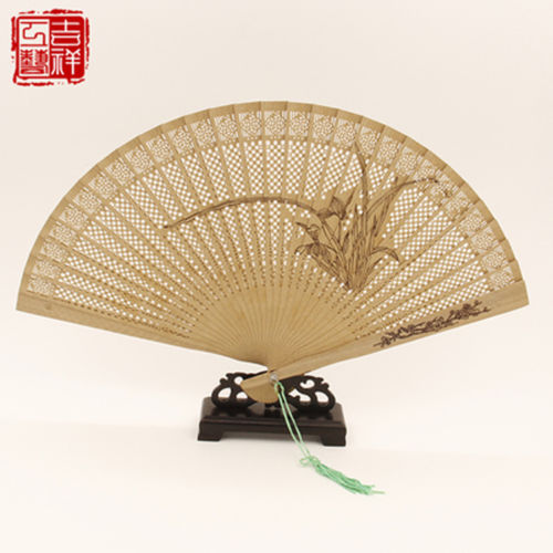 2 pieces Chinese Handmade Classical Sandal Wood Fragrant Hollow Folding Bamboo Fan plant patten(China (Mainland))