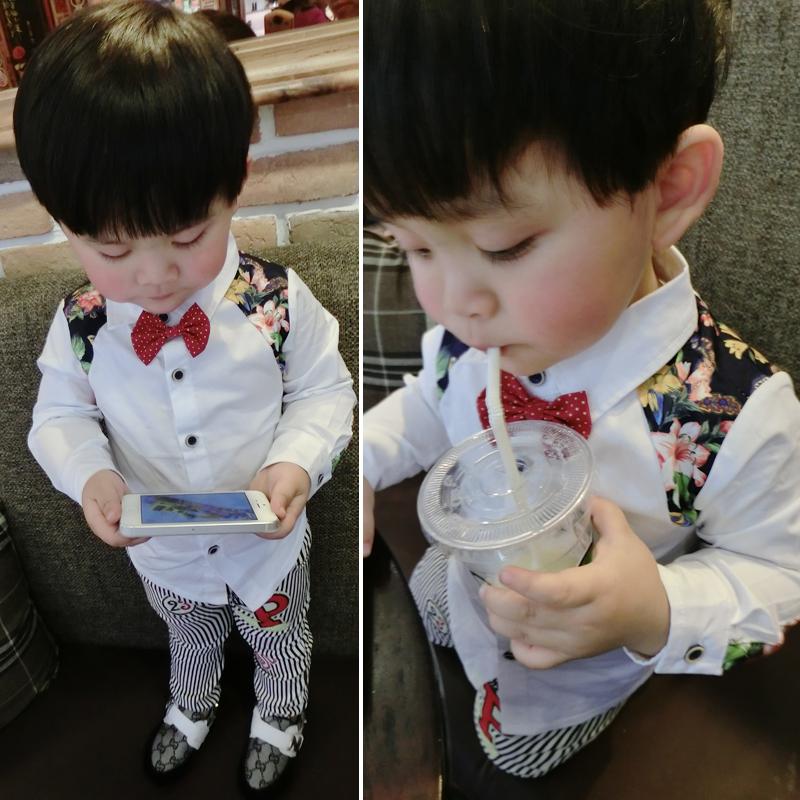 B b printemps coton chemise avec rouge noeud papillon t - Noeud papillon rouge enfant ...
