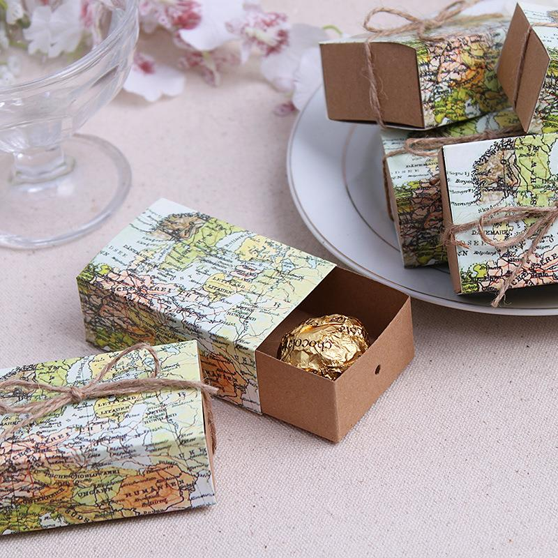 7.6*5*3cm World map paper Candy baby shower Boxes Souvenir decoracion boda Christmas supply party wedding gifts for guests decor(China (Mainland))