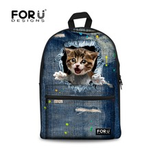 Buy Fashion Design Travel 3D Animal Canvas Back Pack Knapsack Denim Dog Cat Printing Backpacks Teenager Girls Casual School Bags for $25.29 in AliExpress store