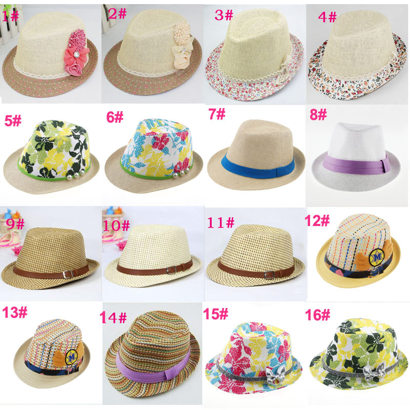 16 Designs Children Summer Fedora Hat Baby Straw Sun Cap Kids Top Hat Infant Strawhat Dicers Fedoras 10pcs LM098(China (Mainland))