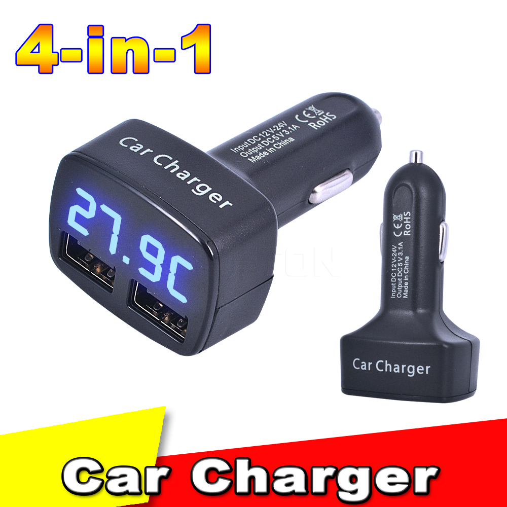 New 4 in 1 Car Charger Dual USB DC 5V 3.1A Universal Adapter With Voltage/temperature/Current Meter Tester Digital LED Display(China (Mainland))