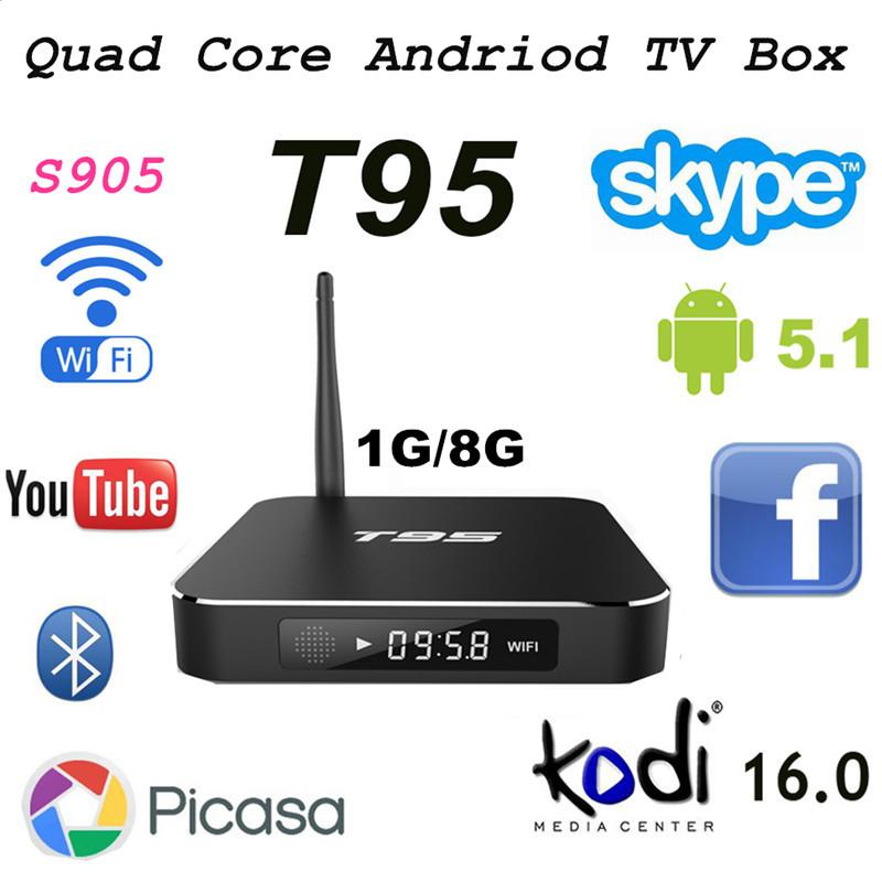 Здесь можно купить  Android 5.1 Amlogic S905 Quad-core TV Box T95 1G+8G H.265 KODI 16.0 ADD ONS Pre-installed Smart TV 2.4GHz Wifi/4K 2K HDMI Output  Бытовая электроника