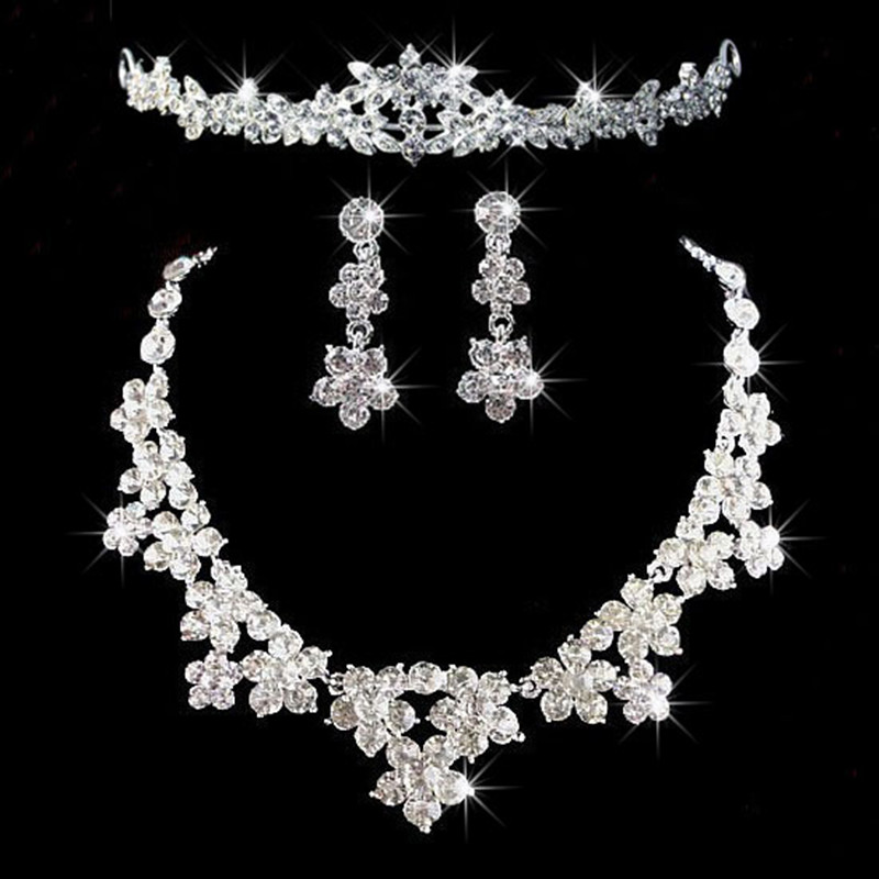 2014 New Design Flower Water Drop Crystal Rhinestone Bride Set Necklace Earring Tiara Bridal Wedding Jewelry Wets Women - jewelry store