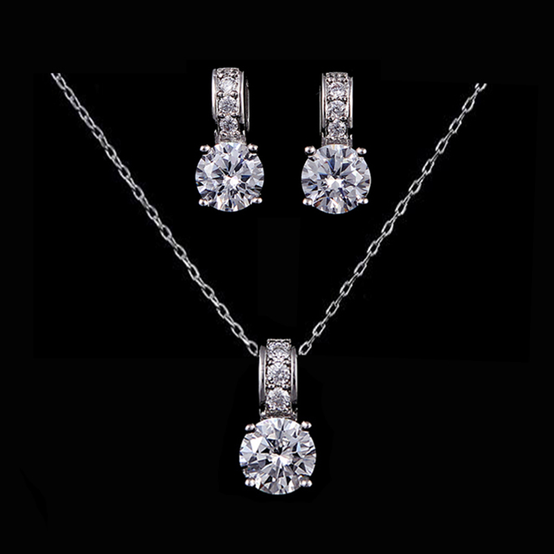 Sparkling AAA Cz Bridal Jewelry Set White Gold Cheap Fashion Jewelry Sets for Women Wedding Jewelry Accessories Free Shipping