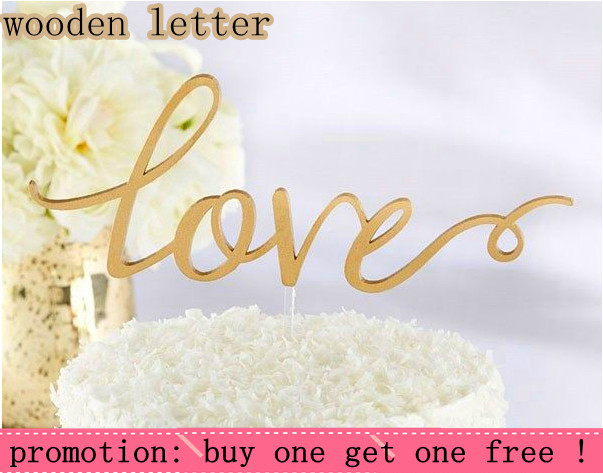 Love Wooden Wedding Cake Topper Wooden Letters Wedding decoration Wooden Color Anniversary Cake Topper with free shipping(China (Mainland))