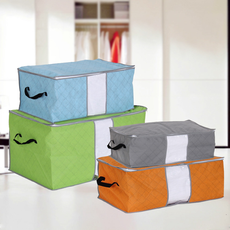 Bamboo charcoal cotton quilt storage box finishing clothes cover transparent window Baina box clothing box finishing bag(China (Mainland))