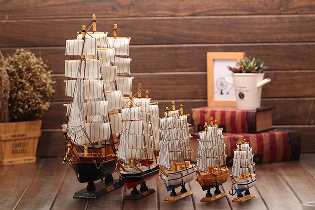 wood sailing model 16cm-30cm mediterranean style <font><b>decoration</b></font> crafts lucky boat