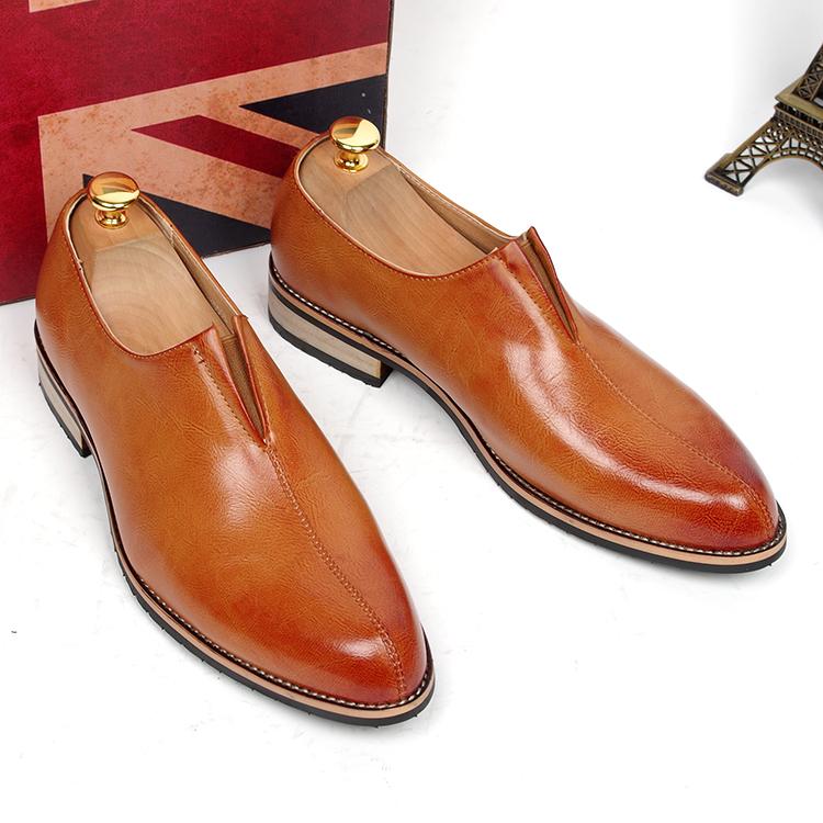 men's business formal dress genuine leather lazy shoes slip loafers office career work shoe fashion footwear man  -  Miyado store