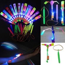 24pcs LED Light Helicopter Rubber Band Luminous Rockets Arrow Flying Toy for Kids Children Christmas Birthday Gifts(China (Mainland))