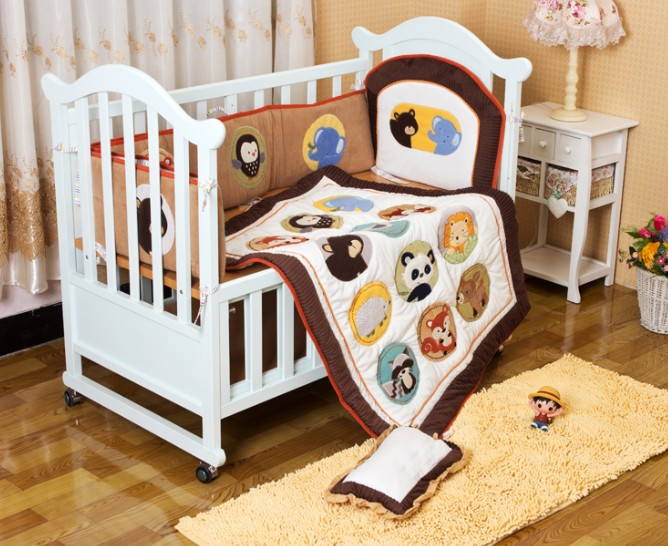 Promotion! 6PCS Baby Bed Sets Free Shipping Baby Crib Bedding Sets (bumper+duvet+bed cover)<br><br>Aliexpress