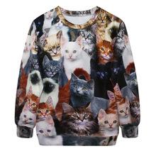 Europe and America hedging loose casual cat Sweatshirt Female Star Digital Printing 3D women Sweatshirt(China (Mainland))