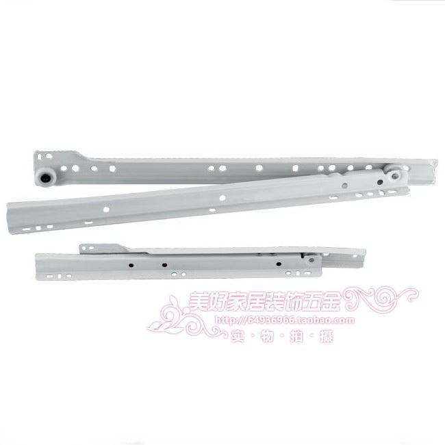White muffler dragging the bottom track / session two drawer slide / computer desk slide 25 30 35 40 45 50cm(China (Mainland))