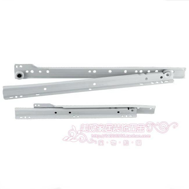 White muffler dragging the bottom track / session two drawer slide / computer desk slide 25 30 35 40 45 50cm(China (Mainland))
