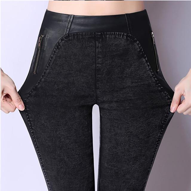 2016 новинка тонкий двойной молнии джинсы большие ярдов высокой упругой высокая талия ...
