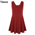 Women Summer Dresses Sleeveless Sexy Backless Women Tunic Dress Solid Pleasted A Line Casual Red Femme