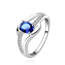 free shipping 925 silver Fashion Jewelry blue stone still here silver plated wedding ring for women