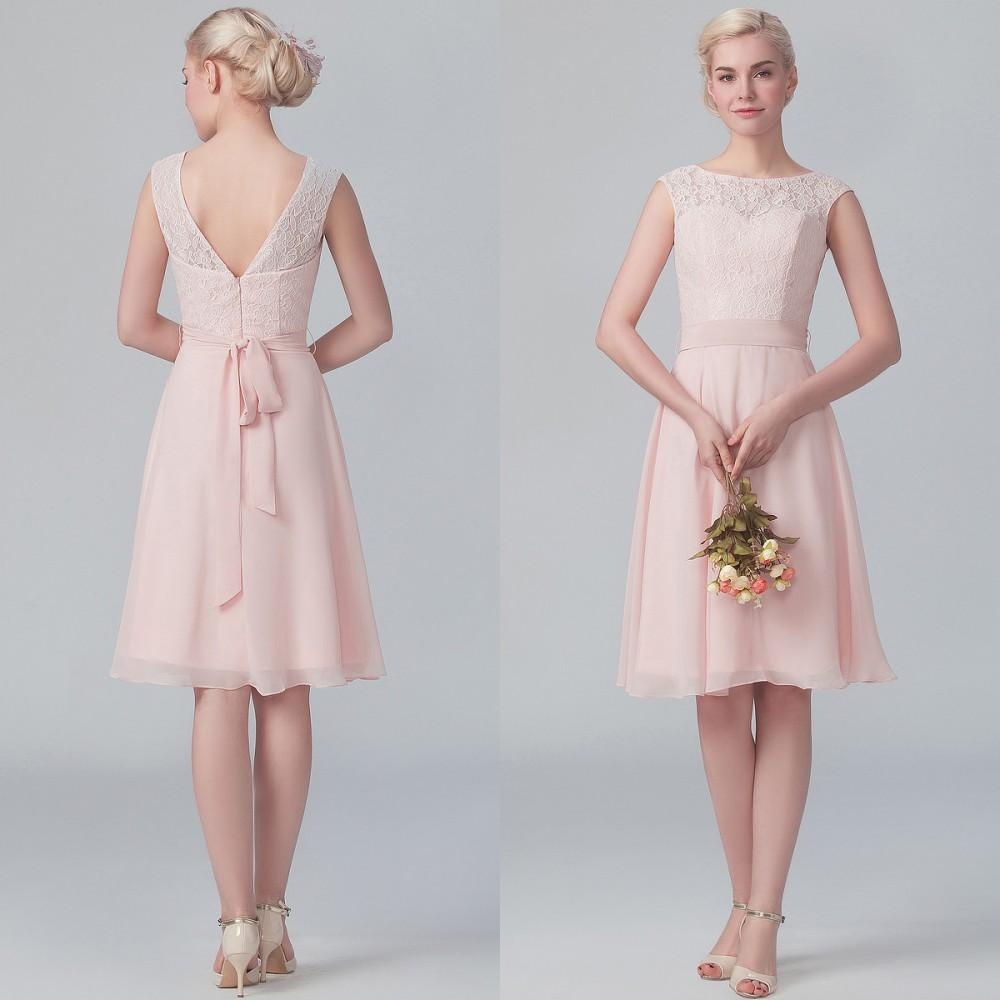 Short vintage 2015 blush pink lace bridesmaid dresses knee for Maid of honor wedding dresses