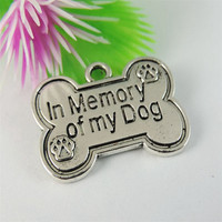 Wholesale 12PCS Antique Silver Tone Alloy Pet Dog Bone Pendant Charms Findings 25*19*1mm 39105