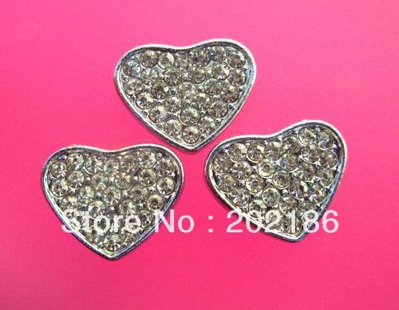 Full rhinestone Heart Slide Charms 50pcs 8mm Wristband charms(China (Mainland))