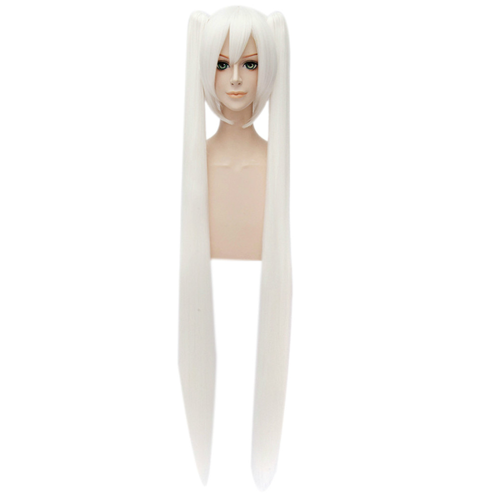 Women Cosplay White Double Ponytail Anime Party Cosplay Full Haircut Wigs