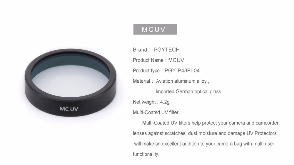 PGY Lens Filters MCUV for DJI phantom 4 phantom 3 Gimbal accessories Camera Ultraviolet Filter UAV Quadcopter drone parts
