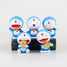 Anime Figure 10 CM 5 pcs/set Cartoon Cute Doraemon Stand 80 Anniversary PVC Action Collectible Model Toy Doll - mark store