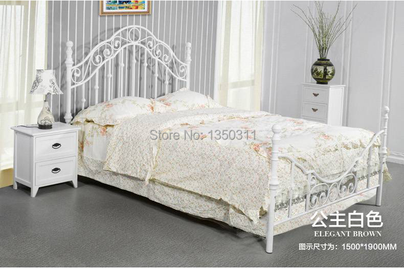 Factory direct sales of Korean Princess metal iron sheets / double 1.2/1.5/1.8 white rice export bed<br><br>Aliexpress