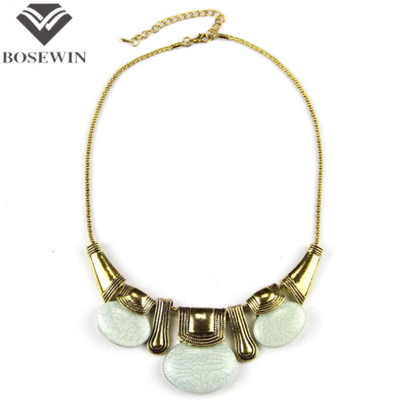 Buy Classic Style Vintage Gold Chain Oval Imitation Gemstones Women Necklace