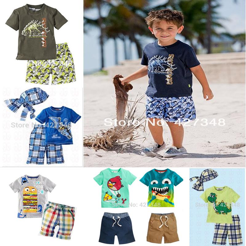 1set Retail!!Hot 2015!!children clothing set casual boy's beach set t-shirt+shorts 2 pcs for summer baby set Freeshipping CCS056(China (Mainland))