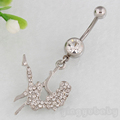 Belly button ring zircon Silver 4 Rhinestone body piercing Navel ring  jewelry 14G 316L surgical steel Nickel-free free shipping