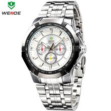 Moda marca de lujo WEIDE relojes hombres cuarzo militar Diver reloj del deporte del ejército completo de acero reloj 30 M impermeable envío gratis