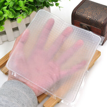 4pcs Clear Reusable Silicone Food Wraps Seal Cover Stretch Multifunctional Food Fresh Keeping Saran Wrap Kitchen Tools(China (Mainland))