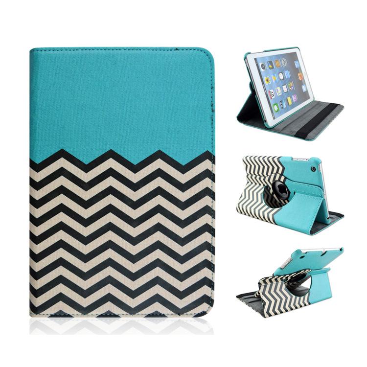 Verf strepen tablet case voor ipad mini ipad mini 2 ipad mini 3 360 roterende cover screen