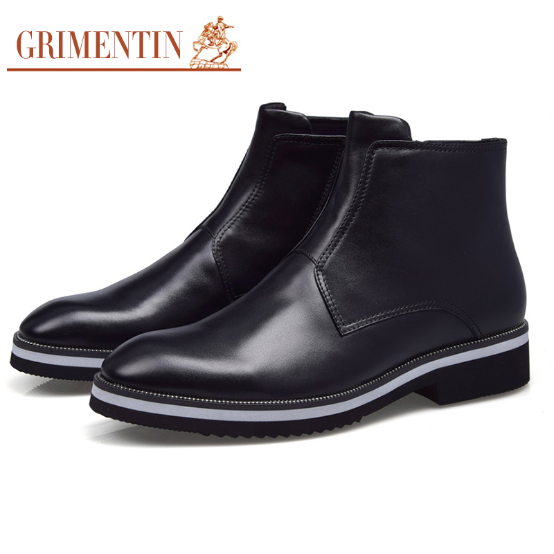 GRIMENTIN fashion black mens casual boots genuine leather classic men shoes luxury design leisure boot for office business zb199(China (Mainland))