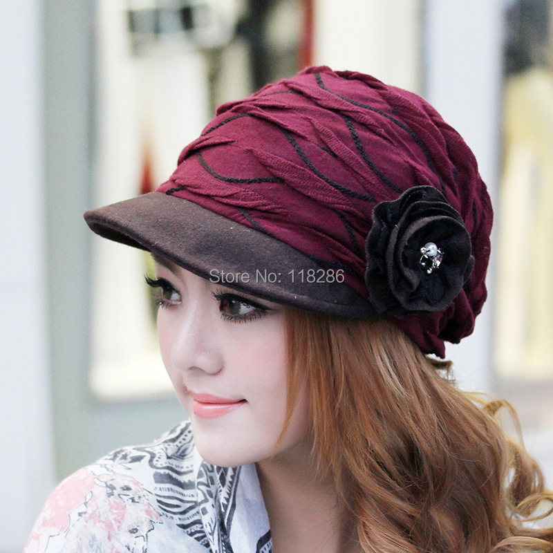 2014 Newly autumn and winter warm lace flower beret cap for women fashion top quality cotton