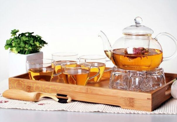 New Configuration 600ml glass teaset tea set including 6 double wall cups fair cup Bamboo tea