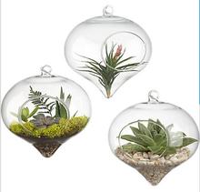 Modern Hanging Clear Flat-bottomed Crystal Glass Vase Flower Balls Terrarium Vases For (China (Mainland))