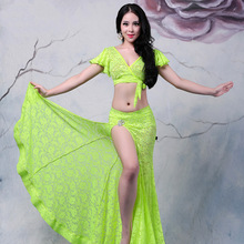 2015 New Arrivals Sexy Lace Belly Dance Costume for Women Cheap Belly Dancing Top Skirt Set On Sale