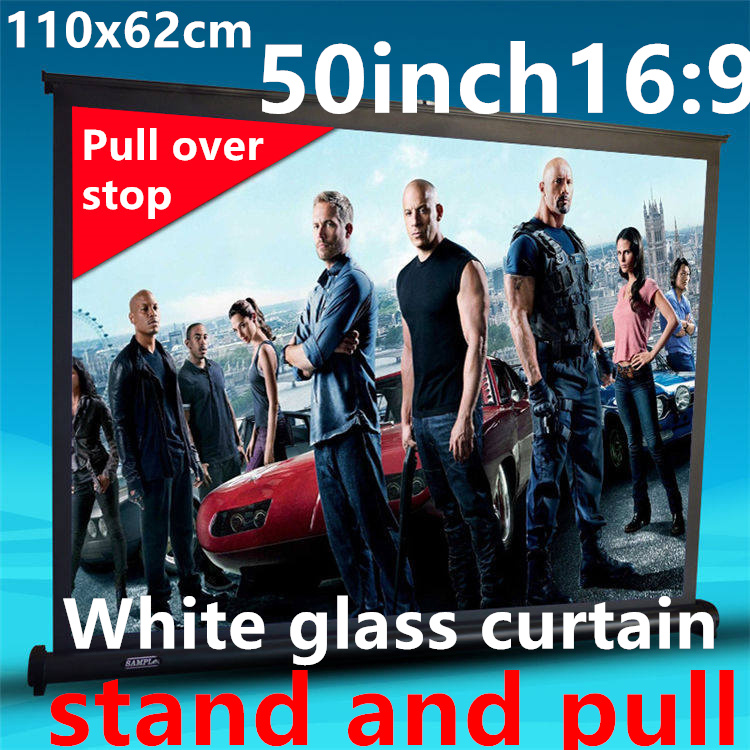 50 inch 16:9 White glass curtain Pull Up standing projector Screen Portable Floor Stand Screen for dlp led hd mini projector<br><br>Aliexpress