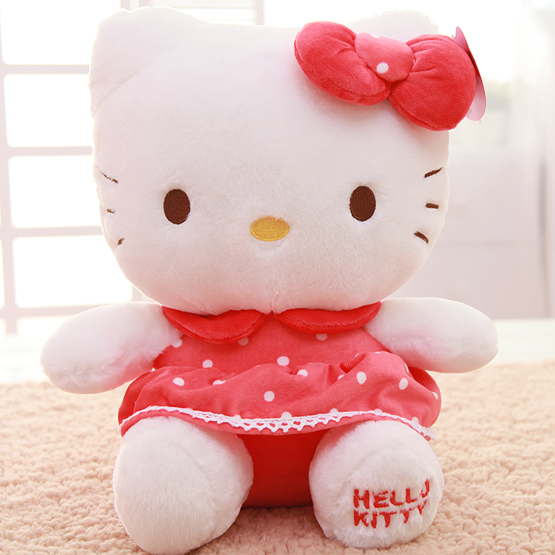 Top Quality Big Hello Kitty Plush Toys Sitting Height 35 cm Soft Stuffed Doll for Children Kids Christmas Birthday Gift Pelucia(China (Mainland))