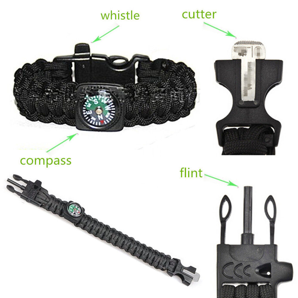 "Promotion Direct Selling Supervivencia Knife 9"" Paracord Survival Bracelet Rope For Compass Flint Fire Starter Whistle Kits(China (Mainland))"
