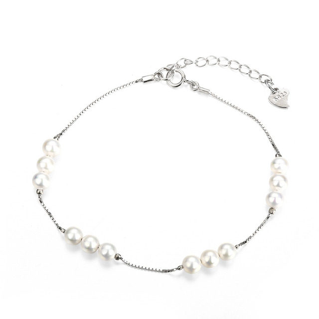 Новый горячая распродажа оригинальный стерлингового серебра серебристо-ювелирные белый жемчуг участки браслет , совместимой с DIY ювелирных