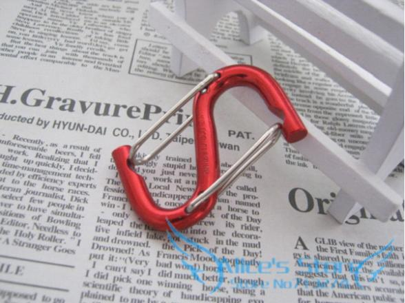 50 Pcs/ Lot 56*41*6.7MM / S Shaped Double elastic rod Aluminum Alloy Locking Mounting Carabiner Snaphook Hook Holder<br><br>Aliexpress