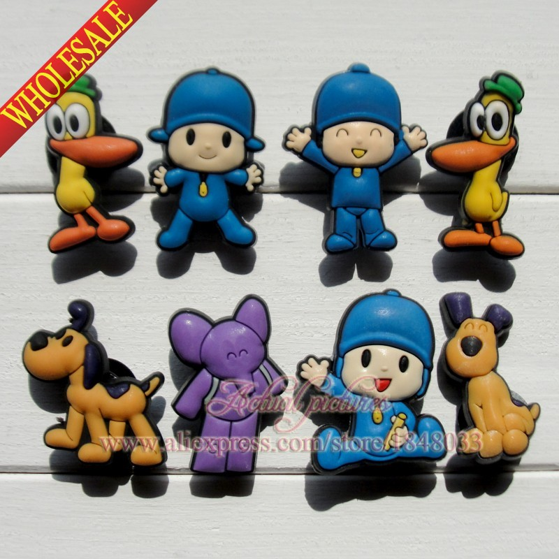 8PCS Pocoyo Cartoon Figures PVC Shoe Accessories Shoe Buckle fit Bracelets Bands Croc JIBZ Party Gifts(China (Mainland))