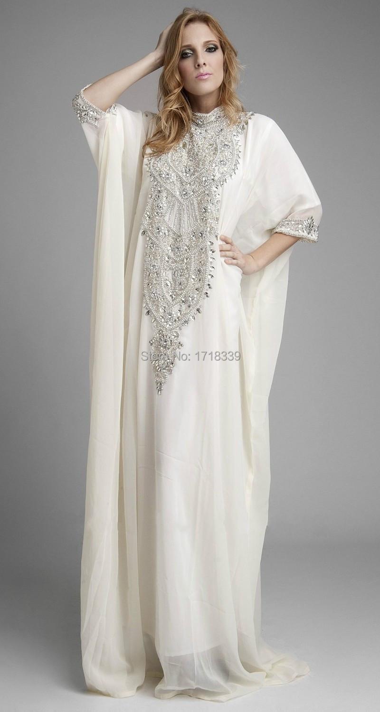 Abaya in dubai white chiffon crystal beading arabic dress for White kaftan wedding dress